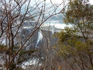 木々の間に小河内ダムが見えてきました