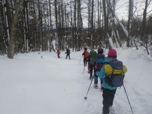林の奥にスキー場が見えてきました、あと少し